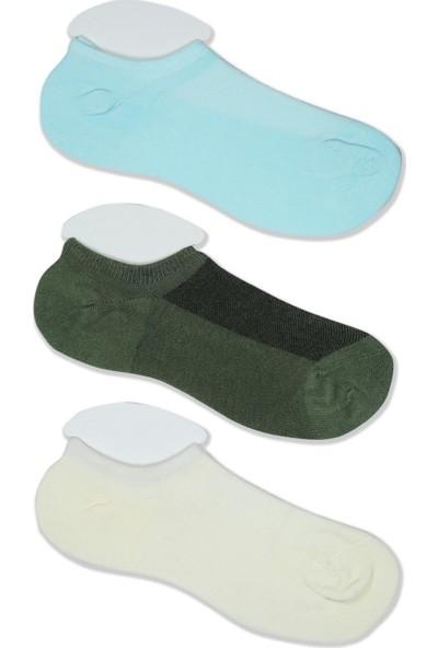 Akbeniz Kadın Yeşil - Ekru - Su Yeşili 3'lü Pamuk Patik Çoraplar 5522