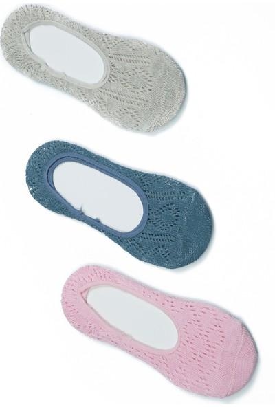 Akbeniz Kadın Pembe - Petrol - Gri 3'lü Pamuk Babet Çoraplar 5533