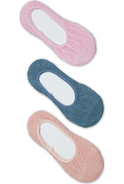 Akbeniz Kadın Pembe - Petrol - Somon 3'lü Pamuk Babet Çoraplar 5536