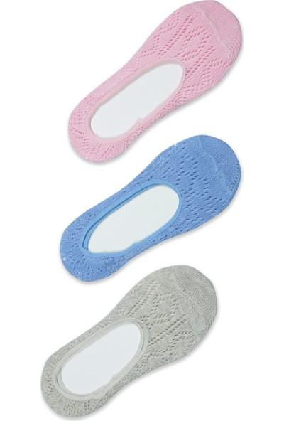 Akbeniz Kadın Mavi - Pembe - Gri 3'lü Pamuk Babet Çoraplar 5555