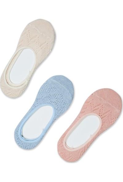Akbeniz Kadın Somon - Mavi - Ten 3'lü Pamuk Babet Çoraplar 5557