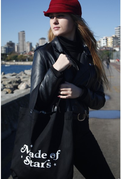 Baagİstanbul Tasarım Siyah Jean Baskılı Çanta