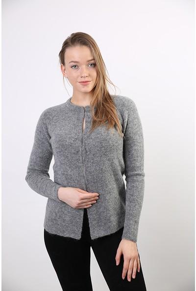 Sweater Bisiklet Yaka Kadın Kışlık Hırka 3164