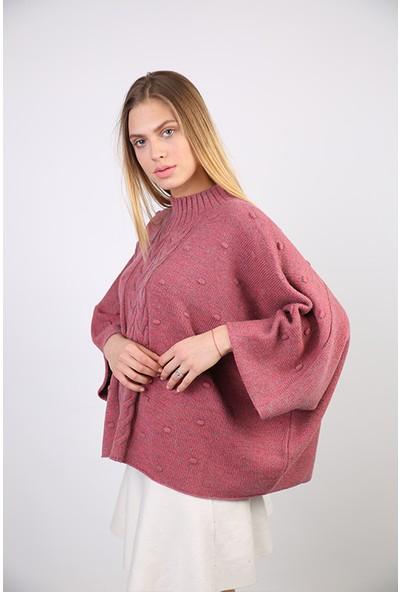 Sweater Yarım Balıkçı Yaka Kadın Kışlık Panço 3354