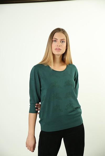 Sweater Bisiklet Yaka Kadın Yazlık Triko 3793