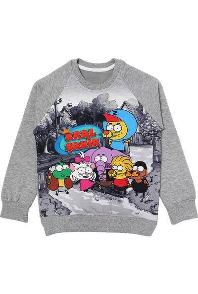 DobaKids Erkek Çocuk Kral Şakir Baskılı Sweatshirt Gri 4 - 5 Yaş
