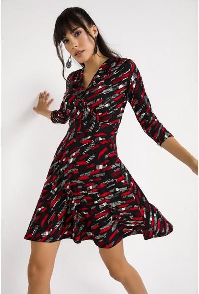 Liplipo Kruvaze Desenli Örme Krep Likra Kadın Elbise