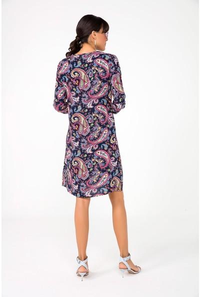Liplipo Önü Düğmeli Şal Desen Kuşaklı Viskon Kadın Gömlek Elbise