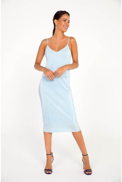Liplipo İp Askılı Astarlı Pliseli Candy Kadın Elbise