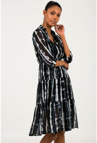 Liplipo Kadın Gömlek Yaka Beli Lastikli Astarlı Kadın Şifon Elbise
