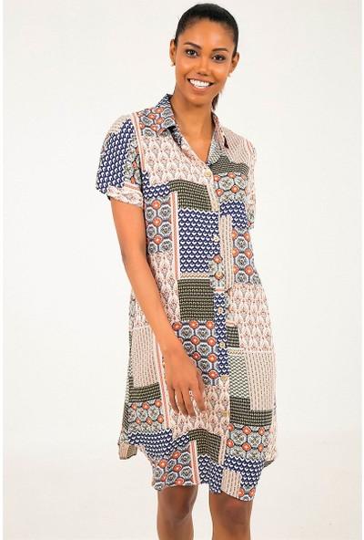 Liplipo Desenli Kısa Kol Kadın Gömlek Elbise