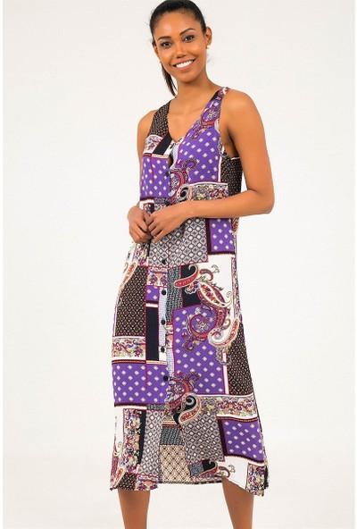 Liplipo V Yaka Şal Desen Kolsuz Kuşaklı Düğmeli Viskon Kadın Elbise