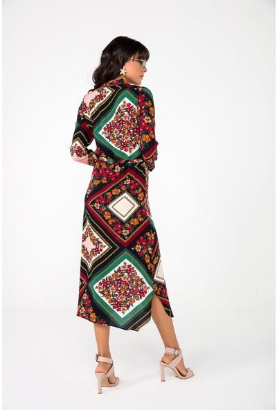 Liplipo Zincir Ve Çiçek Desen Kuşaklı Viskon Kadın Gömlek Elbise
