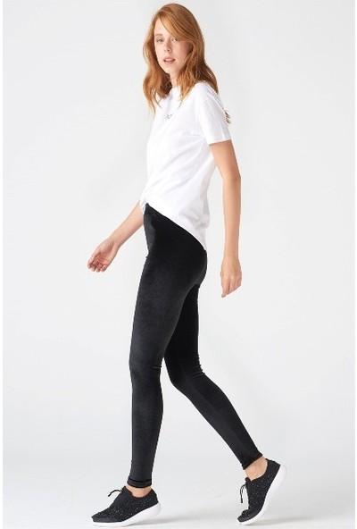 Incebelli Collection Velvet Kumaş Siyah Kadife Yüksek Bel Likralı Kadın Tayt