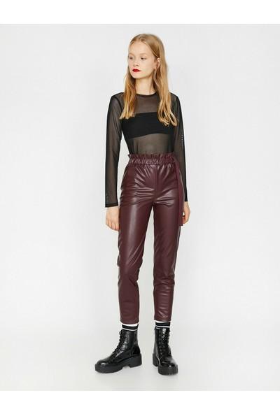 Koton Kadın Deri Görünümlü Pantolon