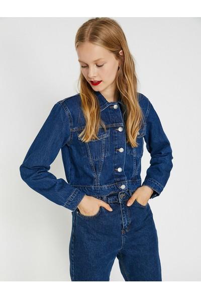 Koton Kadın Düğme Detaylı Jean Ceket
