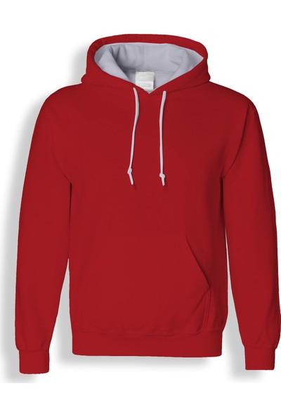 Acr Kırmızı Kapüşonlu Cepli Sweatshirt