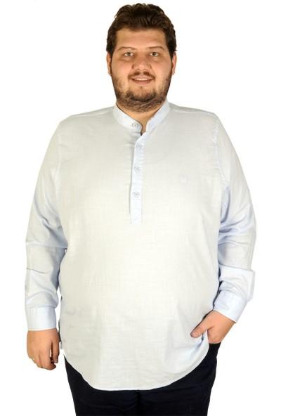 ModeXL Büyük Beden Erkek Uzun Kol Hakim Yaka Gömlek 19388 Mavi