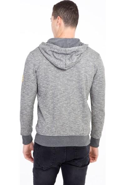 Kiğılı Kapüşonlu Fermuarlı Slim Fit Sweatshirt