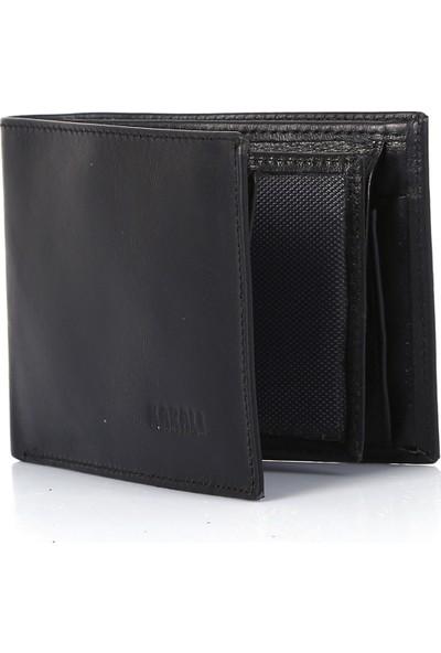 Karalı Deri Erkek Bozuk Para Bölmeli Cüzdan/kartlık