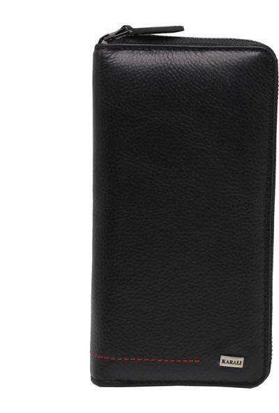 Karalı Deri Telefon Kılıflı Cüzdan/kartlık