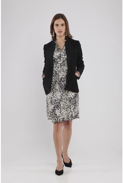 Lyn Devon Hamile Kadın Frank Desenli Elbise