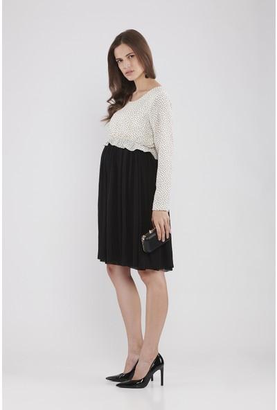 Lyn Devon Hamile Kadın Miracle Puanlı Elbise - Ekru