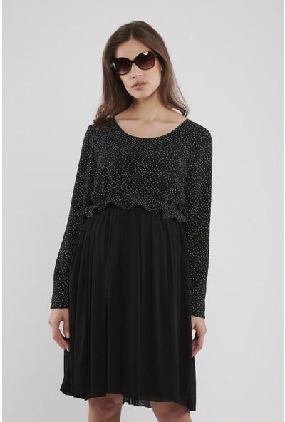 Lyn Devon Hamile Kadın Miracle Puanlı Elbise - Siyah