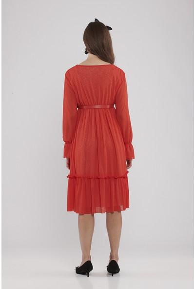 Lyn Devon Hamile Kadın Santina Elbise - Kırmızı