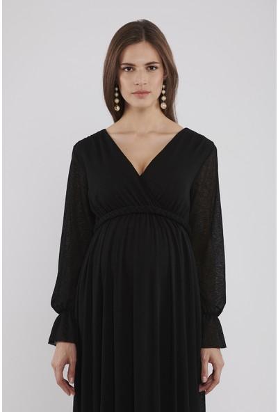 Lyn Devon Hamile Kadın Valentina Elbise - Siyah