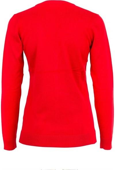 Si Collection 1307-Sk Kadın Hırka Kırmızı
