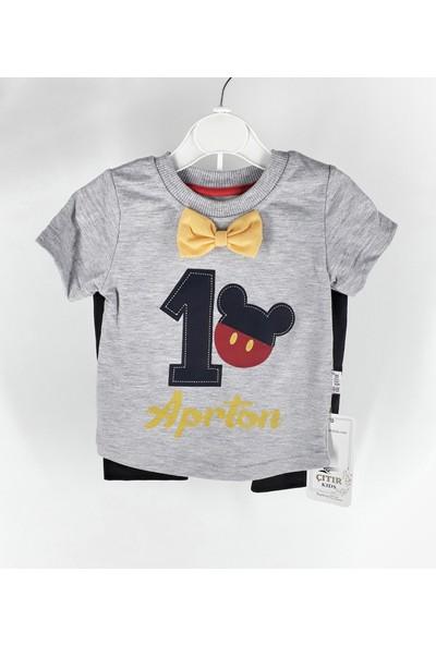 Çıtır Kids Papyonlu Mickey Mouse Erkek Bebek Takım 6 - 9 Ay