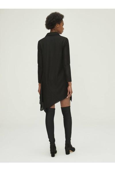 Xint Eteği Asimetrik Kesimli Dantelli Elbise