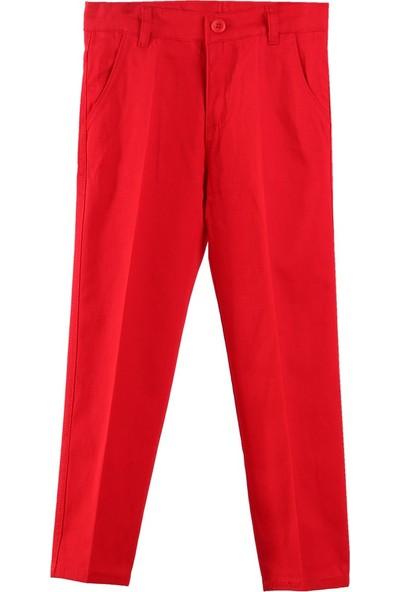 Eh Erkek Çocuk Keten Pantolon Kırmızı 6-16 Yaş