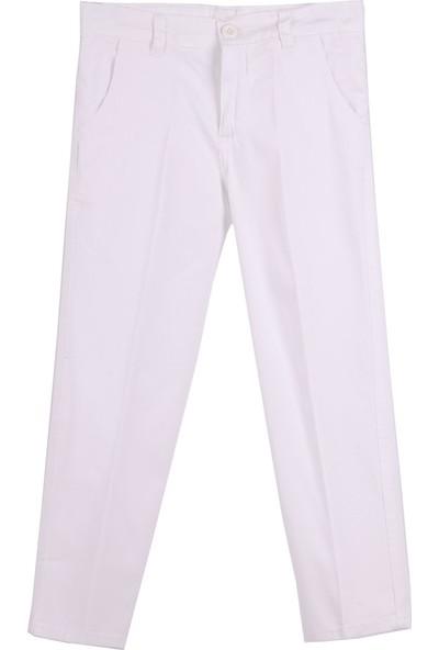 Eh Erkek Çocuk Keten Pantolon Beyaz 6-16 Yaş