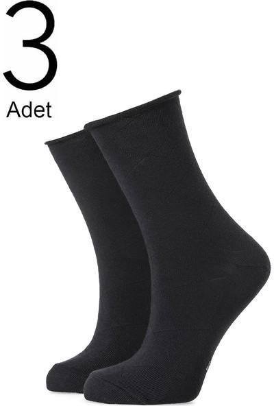 Orbis 3'lü Kadın Büyük Elmas Desenli Lastiksiz Çorap 3407-A3