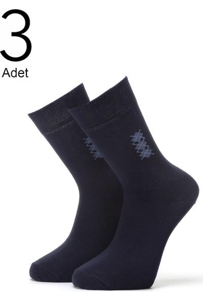 Orbis 3'lü Erkek Konçta Ekose Desenli Çorap 4409-A3