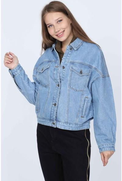 Denim Republic Kadın Buz Mavisi Kot Ceket Bomber Salaş Kesim