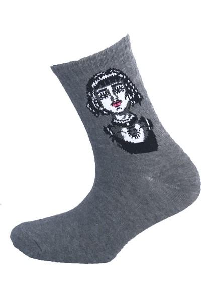 Happy Body 3'lü Organik Kısa Konç Yüz Desen Kadın Çorap
