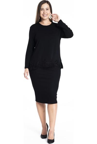 Hanezza Kadın Etek Ucu Deri Detaylı Bluz