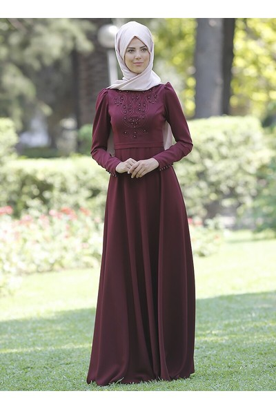 Nurkombin Mahperi İncili Elbise Koyu Bordo