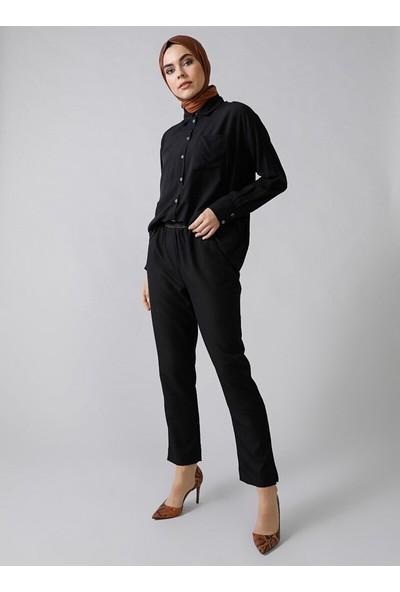 Refka Arkası Uzun Cep Detaylı Gömlek Siyah