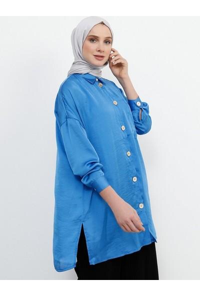 Refka Cep Detaylı Gömlek Mavi