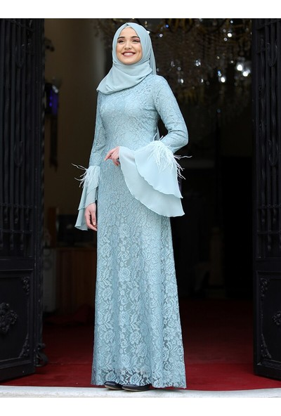 Piennar Gülperi Abiye Elbise Mint Yeşili