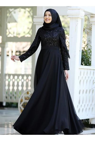 Piennar Açelya Abiye Elbise Siyah