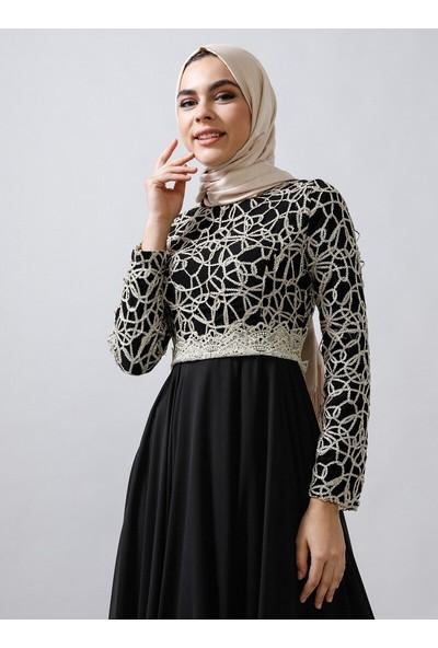 Refka Dore Dantel İşlemeli Abiye Elbise Siyah