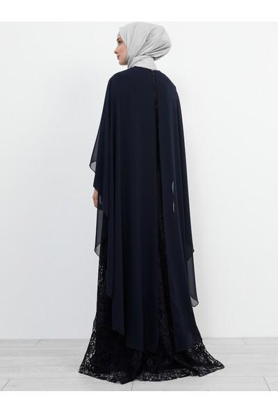 Refka Dantelli Abiye Elbise Lacivert
