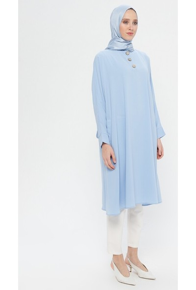 Ginezza Yakası Düğme Detaylı Tunik Mavi
