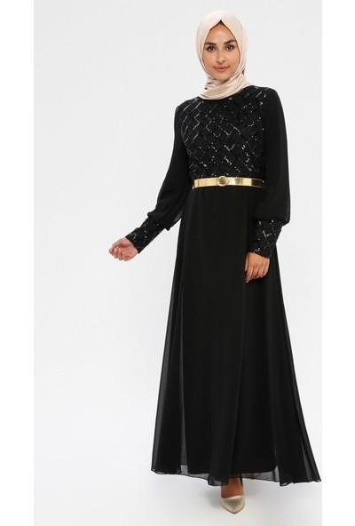 Meksila Payetli Abiye Elbise Siyah