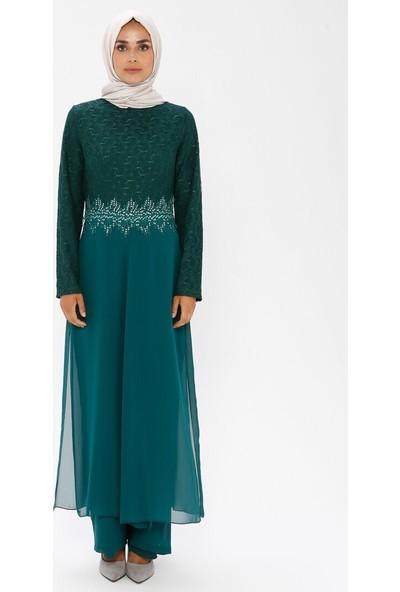 Meksila Şifon Detaylı Abiye Tulum Elbise Yeşil